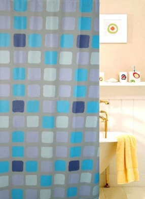 Square Design Shower Curtain(12 PolyResin Hooks Included)