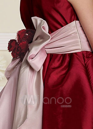 Satin Dress on Red Sleeveless Sash Satin Flower Girl Dress  Milanoo Com