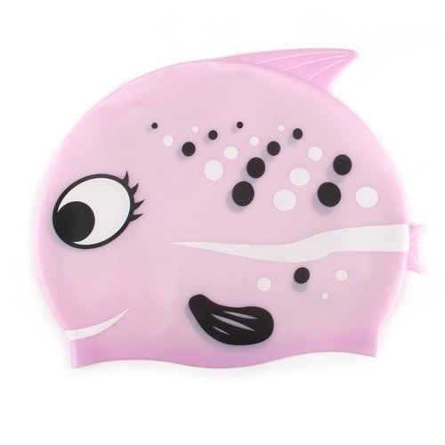 GOGO™ Silicone Swim Cap Swimming Cap for Kids, Cartoon - Pink Fish