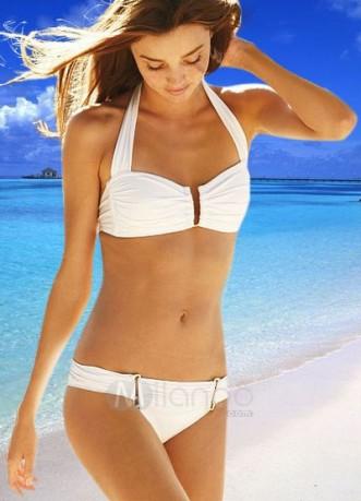 White Women S Halter Push Up Two Piece Bikini Spandex