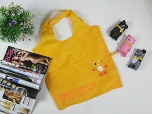 Easy Shopping Reusable Shopping Tote Bag - Folded Into A Duck - Yellow