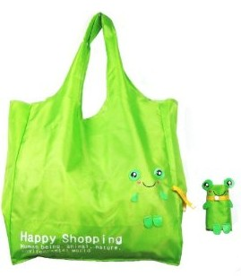 Easy Shopping Reusable Shopping Tote Bag - Folded Into A Frog - Green