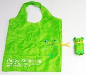 Easy Shopping Reusable Shopping Tote Bag - Folded Into A Frog - Green2