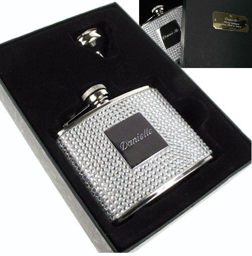 Personalised Diamante Hip Flask Silver