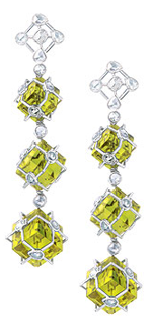 Earrings with Rose Cut Diamonds with Lemon Topaz