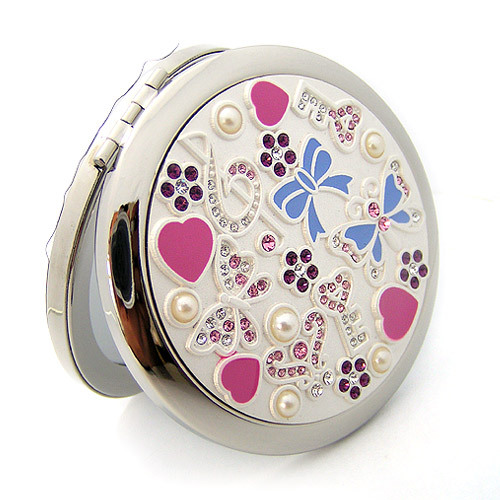 Silver Romantic Pocket Compact Makeup Mirror Elegant Round Bejeweled1