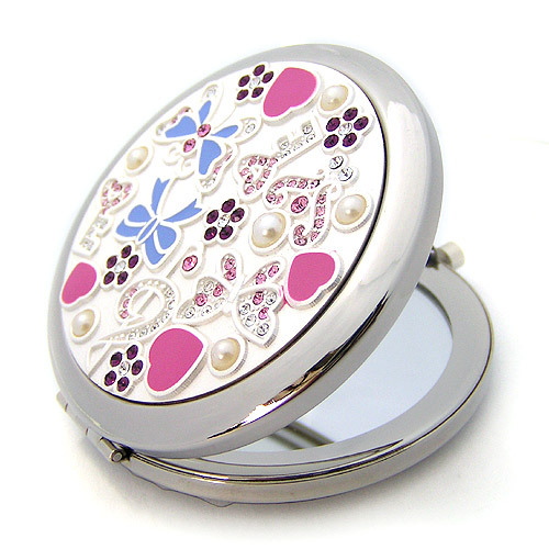 Silver Romantic Pocket Compact Makeup Mirror Elegant Round Bejeweled2