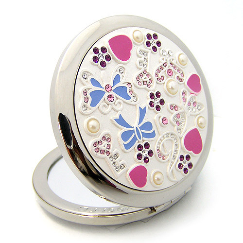 Silver Romantic Pocket Compact Makeup Mirror Elegant Round Bejeweled3