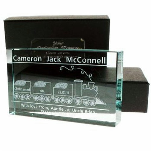 Engraved Crystal Christening Gift Train