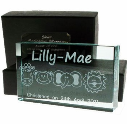 Engraved Crystal Christening Gift Animals