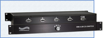 Model 9434 DB9 A/B/C/D Switch, Manual, Rackmount